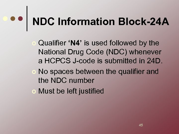 NDC Information Block-24 A Qualifier 'N 4' is used followed by the National Drug
