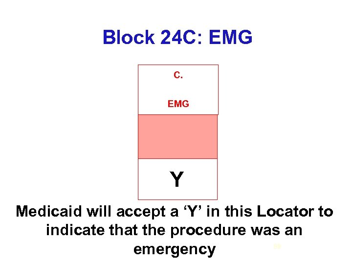 Block 24 C: EMG C. EMG Y Medicaid will accept a 'Y' in this
