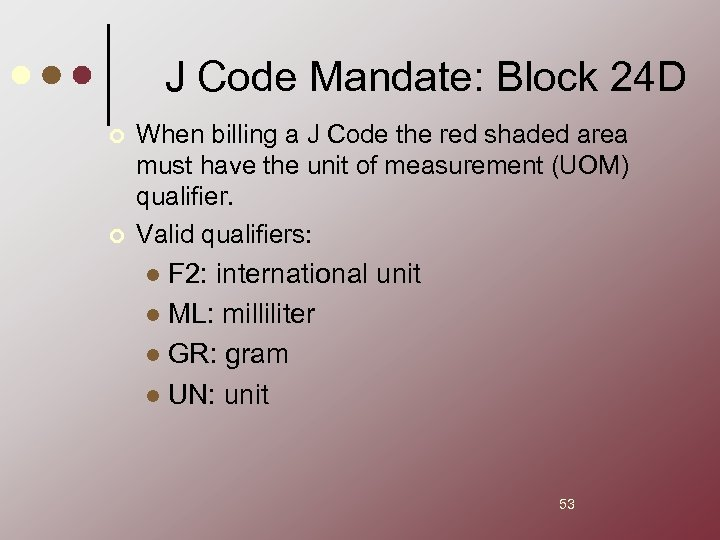 J Code Mandate: Block 24 D ¢ ¢ When billing a J Code the