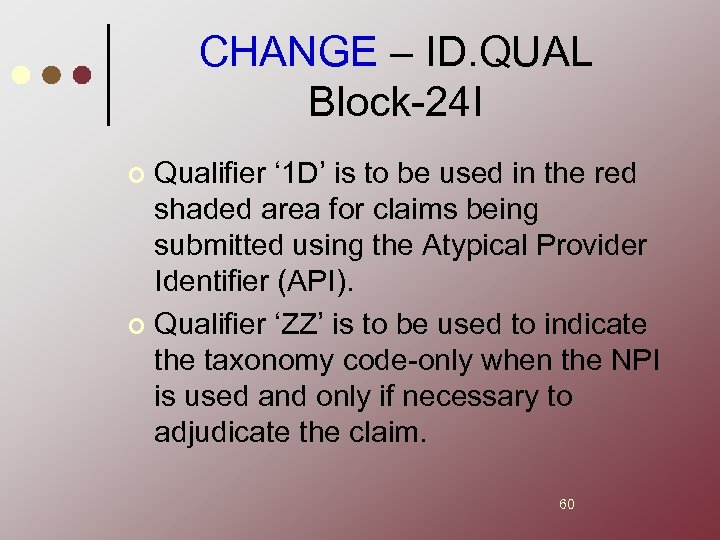 CHANGE – ID. QUAL Block-24 I Qualifier ' 1 D' is to be used