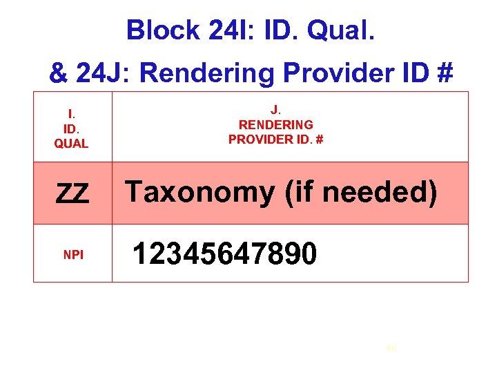 Block 24 I: ID. Qual. & 24 J: Rendering Provider ID # I. ID.