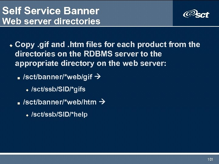 Self Service Banner Web server directories u Copy. gif and. htm files for each