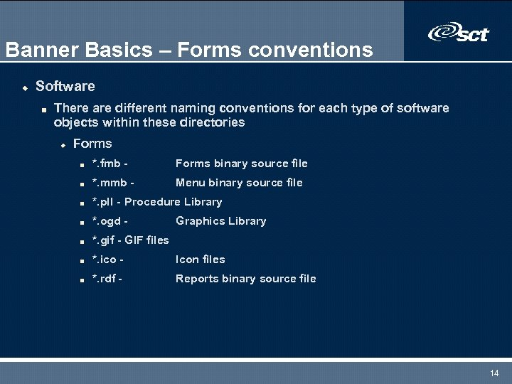 Banner Basics – Forms conventions u Software n There are different naming conventions for