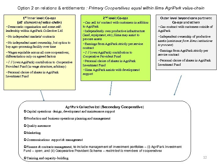 Option 2 on relations & entitlements : Primary Cooperatives equal within Ilima Agri. Park
