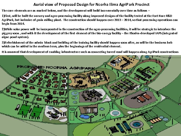 Aerial view of Proposed Design for Ncorha Ilima Agri. Park Precinct The core elements