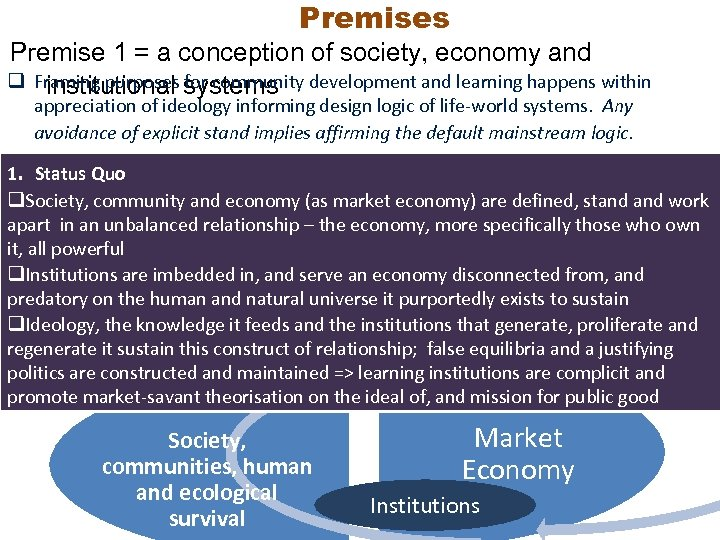 Premises Premise 1 = a conception of society, economy and q Framing purposes systems