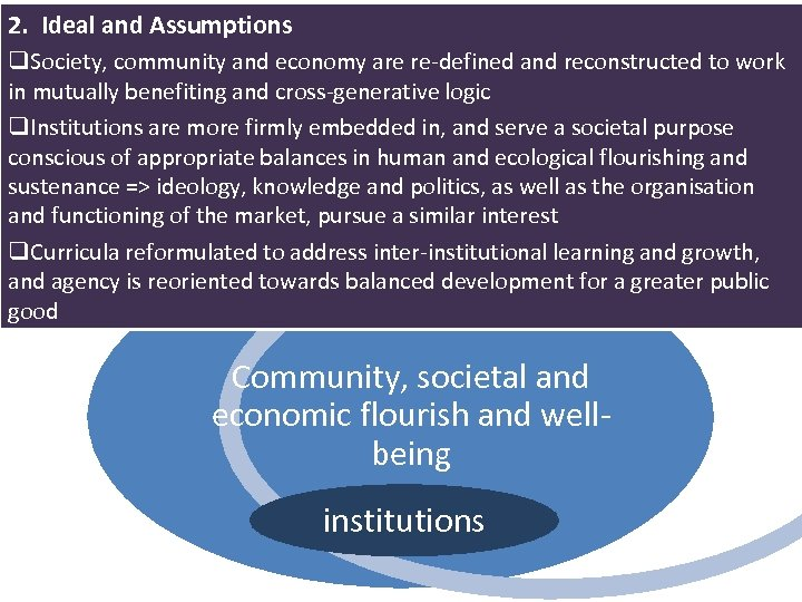 2. Ideal and Assumptions q. Society, community and economy are re-defined and reconstructed to