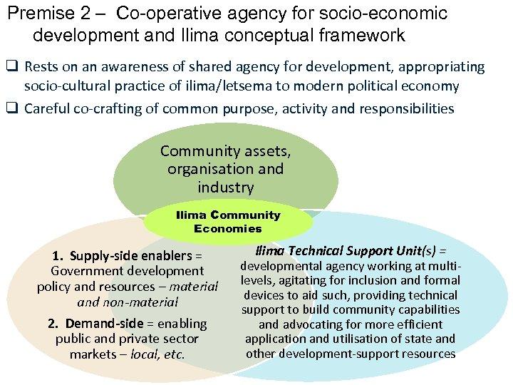 Premise 2 – Co-operative agency for socio-economic development and Ilima conceptual framework q Rests