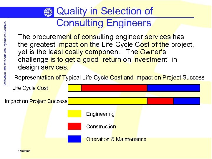 Fédération Internationale des Ingénieurs-Conseils Quality in Selection of Consulting Engineers The procurement of consulting