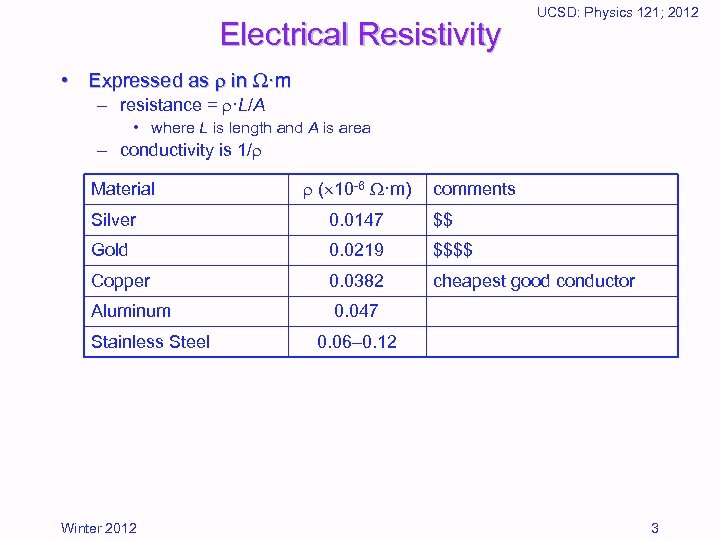 Electrical Resistivity UCSD: Physics 121; 2012 • Expressed as in ·m – resistance =