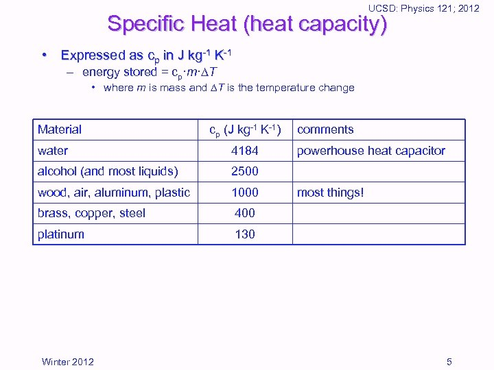 UCSD: Physics 121; 2012 Specific Heat (heat capacity) • Expressed as cp in J