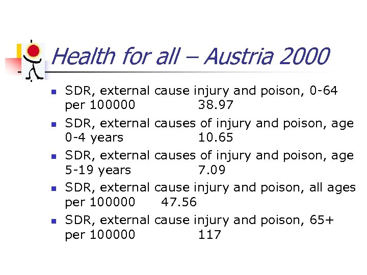 Health for all – Austria 2000 n n n SDR, external cause injury and