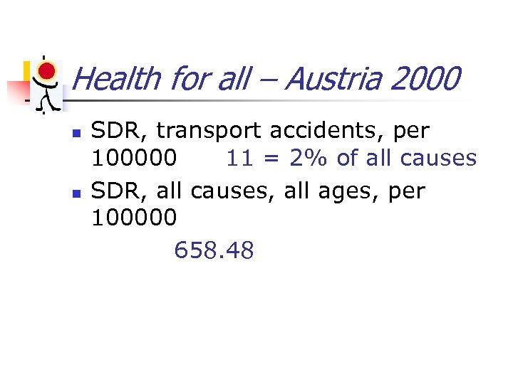Health for all – Austria 2000 n n SDR, transport accidents, per 100000 11