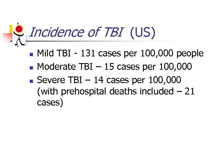 Incidence of TBI (US) n n n Mild TBI - 131 cases per 100,