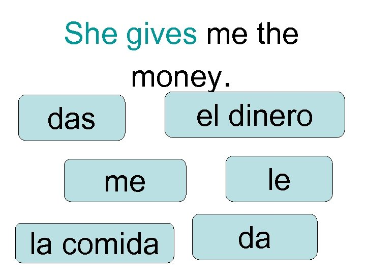She gives me the money. el dinero das me la comida le da