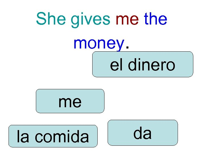 She gives me the money. el dinero me la comida da