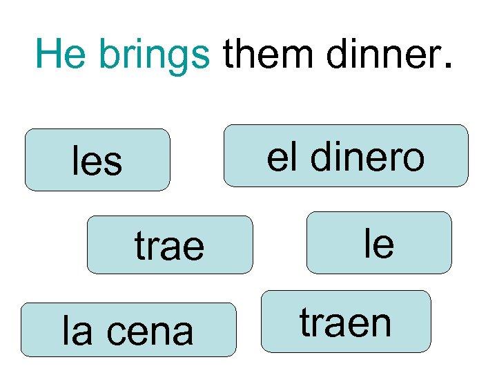 He brings them dinner. el dinero les trae le la cena traen