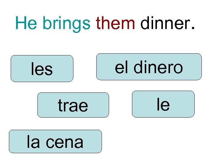 He brings them dinner. el dinero les trae la cena le