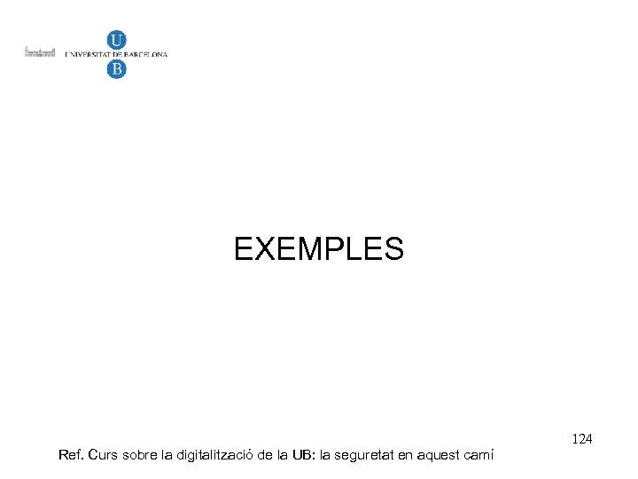 EXEMPLES Ref. Curs sobre la digitalització de la UB: la seguretat en aquest camí