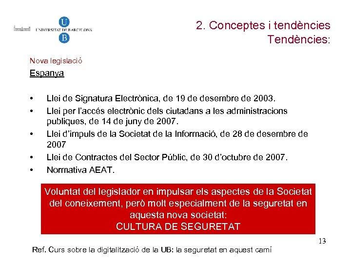 2. Conceptes i tendències Tendències: Nova legislació Espanya • • • Llei de Signatura