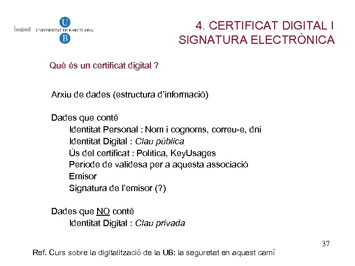 4. CERTIFICAT DIGITAL I SIGNATURA ELECTRÒNICA Què és un certificat digital ? Arxiu de