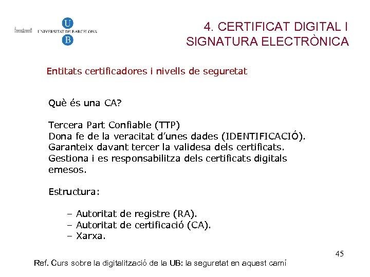 4. CERTIFICAT DIGITAL I SIGNATURA ELECTRÒNICA Entitats certificadores i nivells de seguretat Què és