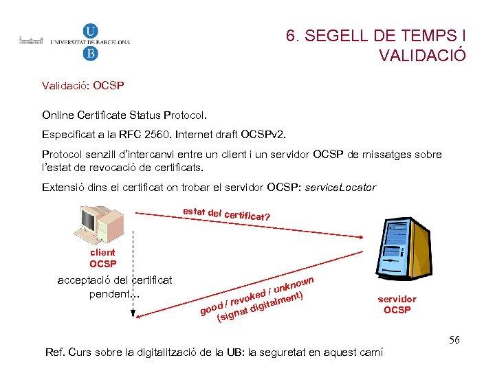 6. SEGELL DE TEMPS I VALIDACIÓ Validació: OCSP Online Certificate Status Protocol. Especificat a