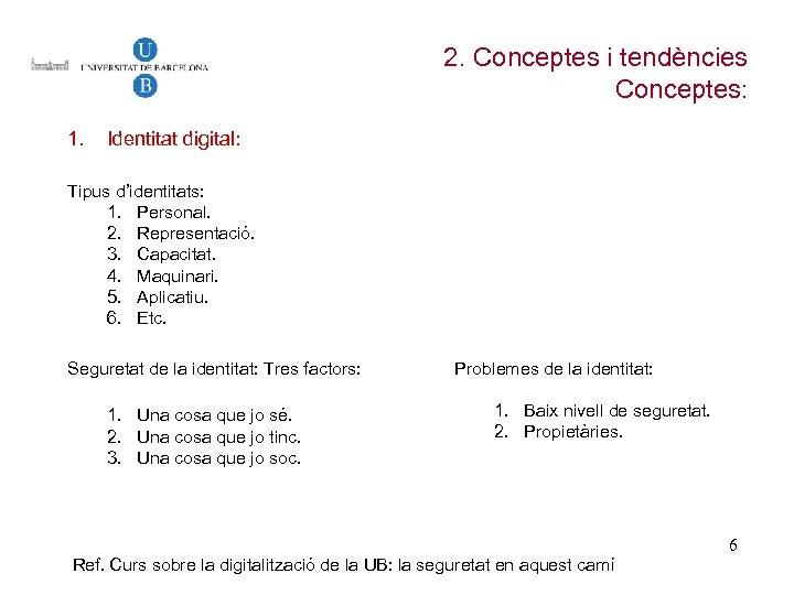 2. Conceptes i tendències Conceptes: 1. Identitat digital: Tipus d'identitats: 1. Personal. 2. Representació.