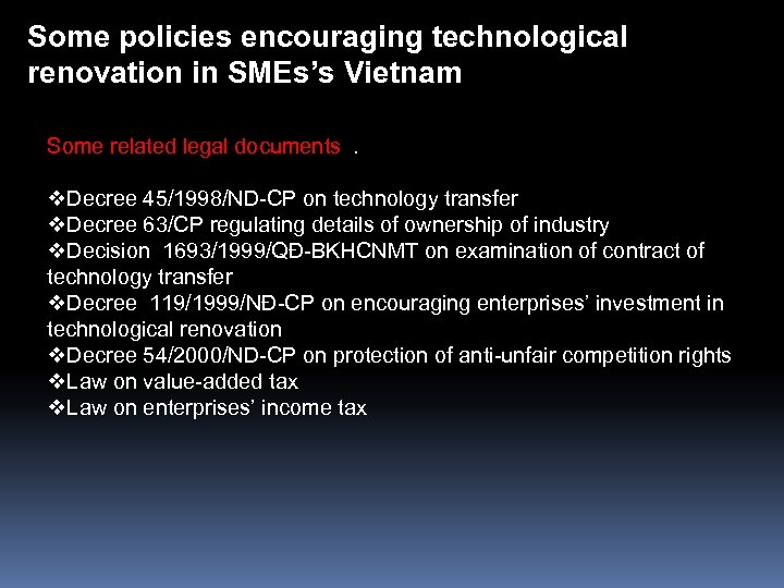 Some policies encouraging technological renovation in SMEs's Vietnam Some related legal documents . v.