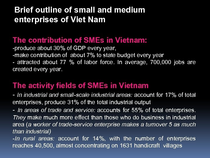Brief outline of small and medium enterprises of Viet Nam The contribution of SMEs