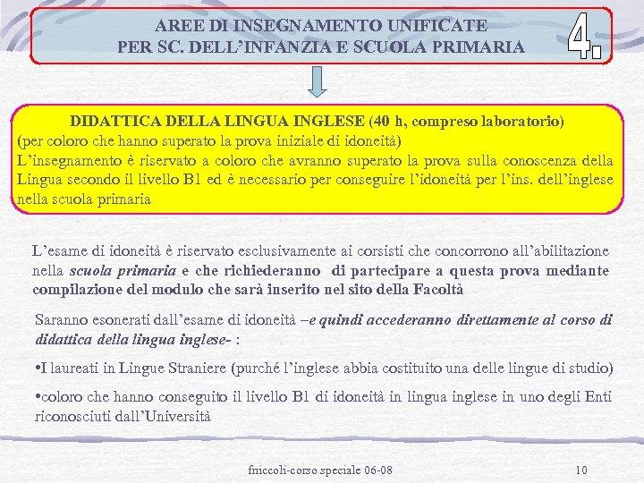 AREE DI INSEGNAMENTO UNIFICATE PER SC. DELL'INFANZIA E SCUOLA PRIMARIA DIDATTICA DELLA LINGUA INGLESE