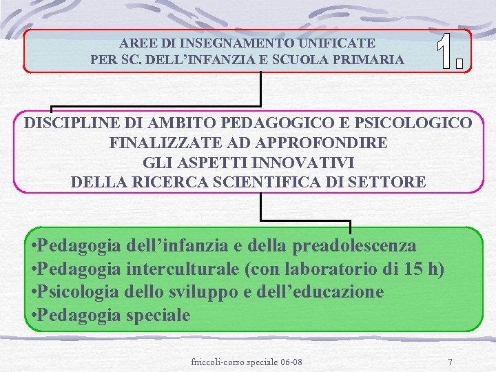 AREE DI INSEGNAMENTO UNIFICATE PER SC. DELL'INFANZIA E SCUOLA PRIMARIA DISCIPLINE DI AMBITO PEDAGOGICO