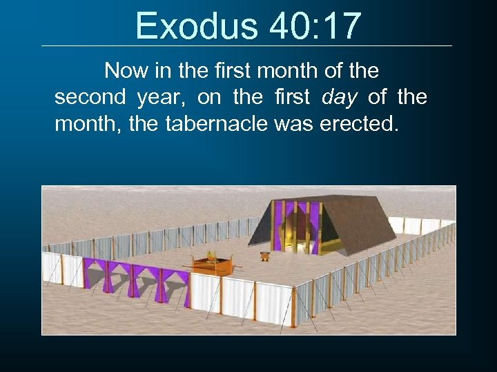Exodus 40: 17 Now in the first month of the second year, on the
