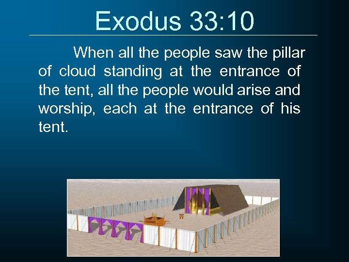 Exodus 33: 10 When all the people saw the pillar of cloud standing at