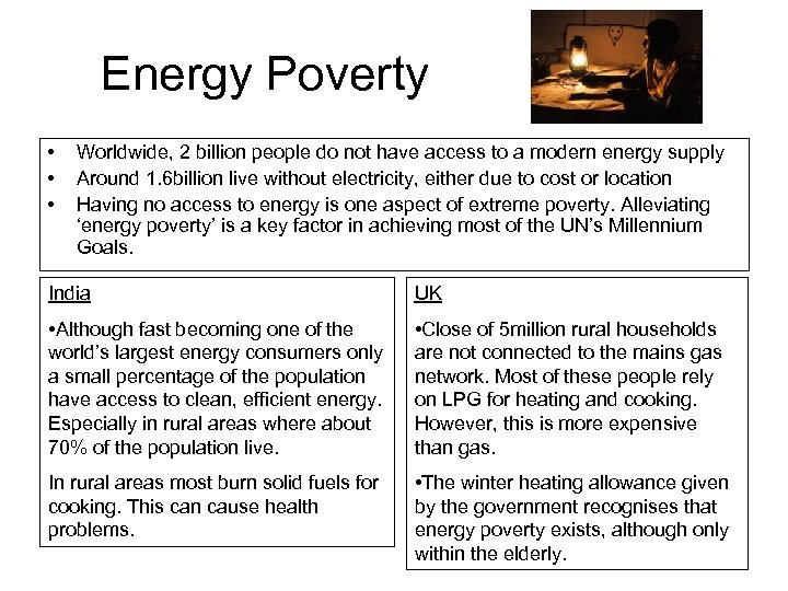 Energy Poverty • • • Worldwide, 2 billion people do not have access to