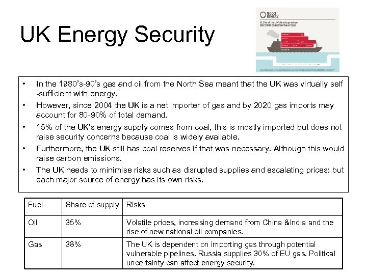 UK Energy Security • • • In the 1980's-90's gas and oil from the