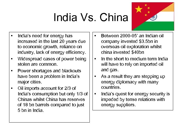 India Vs. China • • India's need for energy has increased in the last