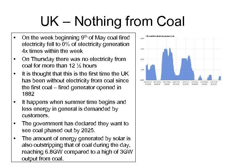 UK – Nothing from Coal • • • On the week beginning 9 th