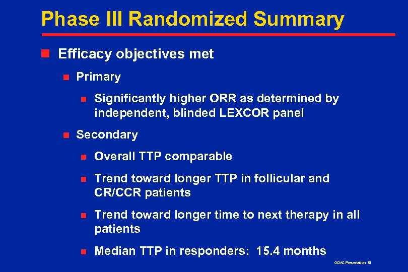 Phase III Randomized Summary n Efficacy objectives met n Primary n n Significantly higher