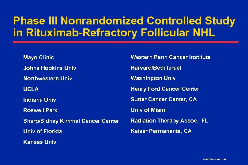 Phase III Nonrandomized Controlled Study in Rituximab-Refractory Follicular NHL Mayo Clinic Western Penn Cancer