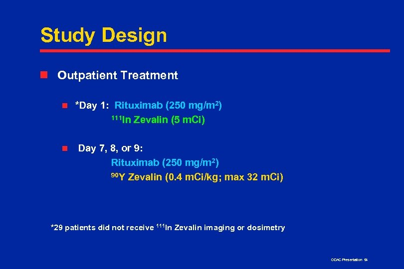 Study Design n Outpatient Treatment n n *Day 1: Rituximab (250 mg/m 2) 111