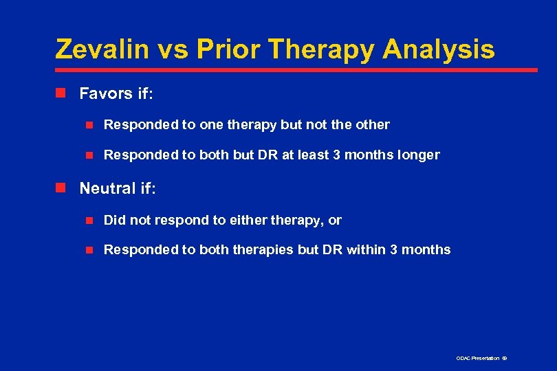 Zevalin vs Prior Therapy Analysis n Favors if: n Responded to one therapy but