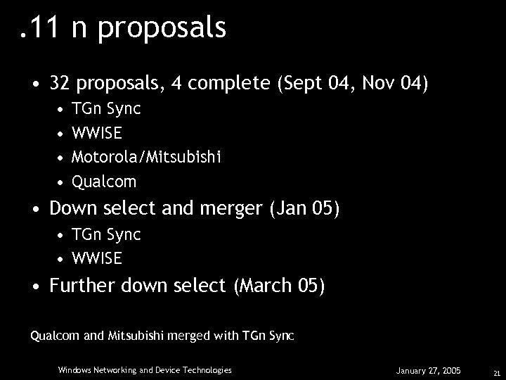 . 11 n proposals • 32 proposals, 4 complete (Sept 04, Nov 04) •