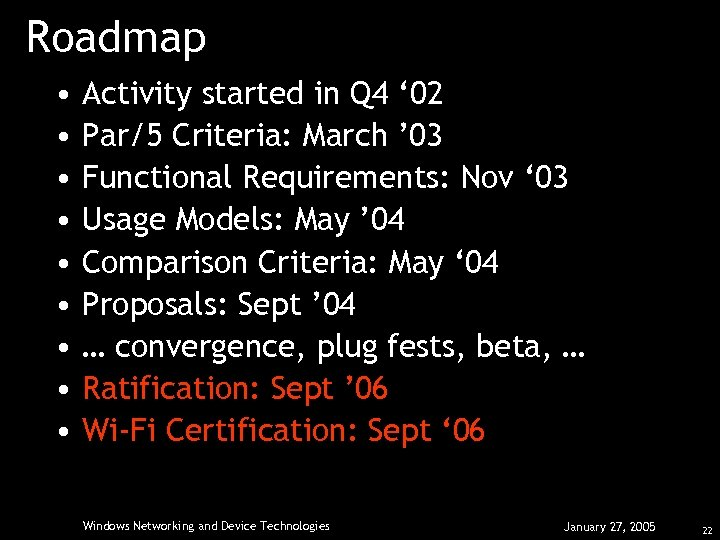 Roadmap • • • Activity started in Q 4 ' 02 Par/5 Criteria: March
