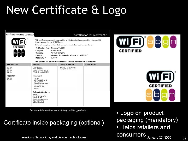 New Certificate & Logo Certificate inside packaging (optional) Windows Networking and Device Technologies •