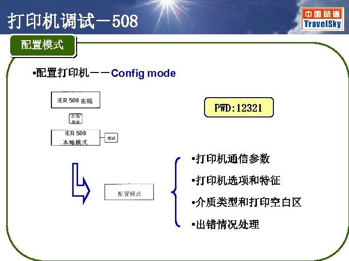 打印机调试-508 配置模式 • 配置打印机--Config mode PWD: 12321 • 打印机通信参数 • 打印机选项和特征 • 介质类型和打印空白区 •