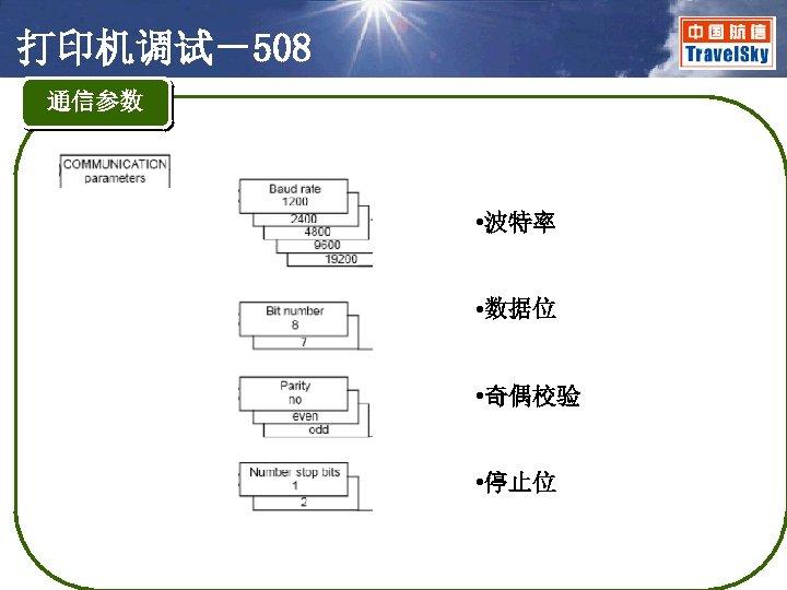 打印机调试-508 通信参数 • 波特率 • 数据位 • 奇偶校验 • 停止位