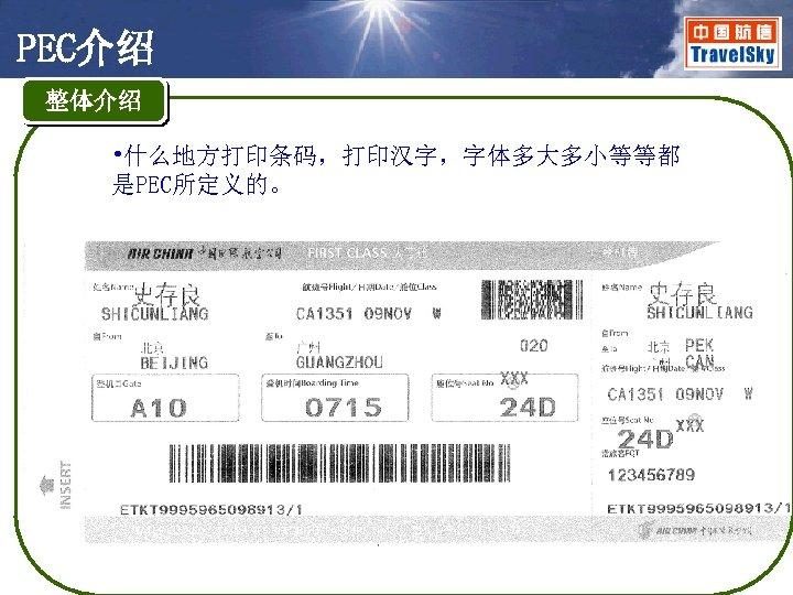 PEC介绍 整体介绍 • 什么地方打印条码,打印汉字,字体多大多小等等都 是PEC所定义的。
