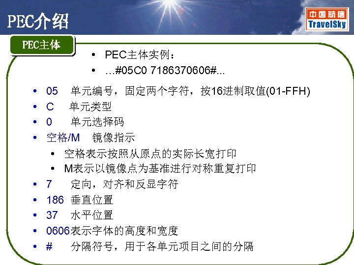 PEC介绍 PEC主体 • • • PEC主体实例: • …#05 C 0 7186370606#. . . 05