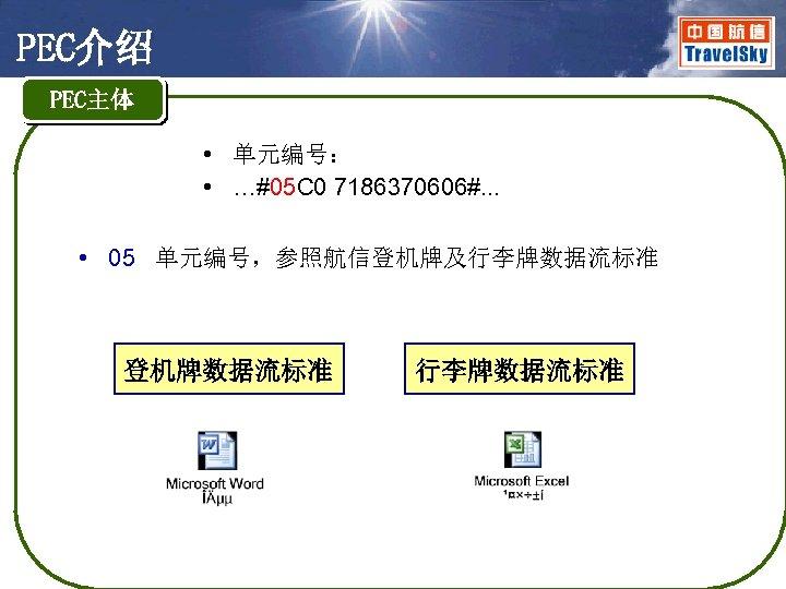 PEC介绍 PEC主体 • 单元编号: • …#05 C 0 7186370606#. . . • 05 单元编号,参照航信登机牌及行李牌数据流标准